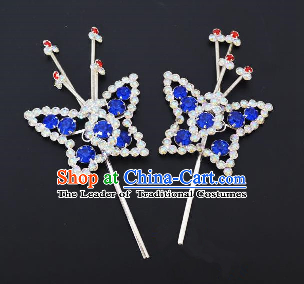 Traditional Handmade Chinese Classical Peking Opera Diva Hair Accessories, China Beijing Opera Hua Tan Blue Crystal Butterfly Hairpins Headwear