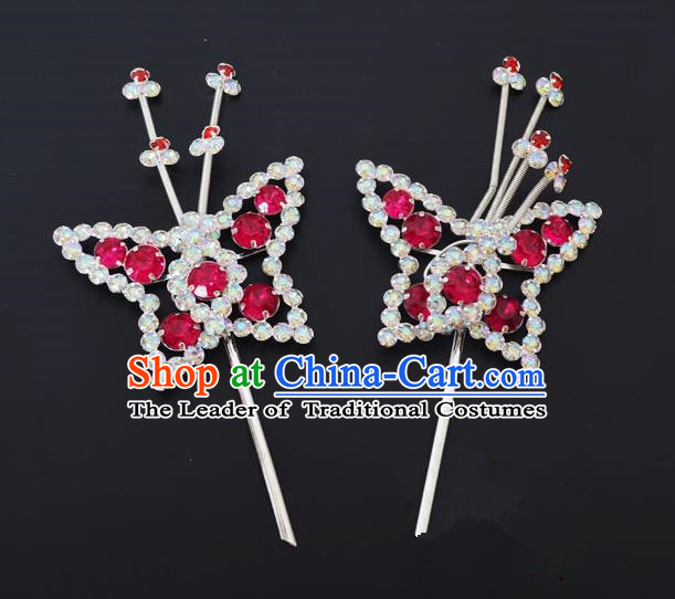 Traditional Handmade Chinese Classical Peking Opera Diva Hair Accessories, China Beijing Opera Hua Tan Rosy Crystal Butterfly Hairpins Headwear