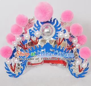 Traditional Handmade Chinese Classical Peking Opera Blues Accessories Pink Venonat Hat, China Beijing Opera Swordplay Warriors Blue Headwear