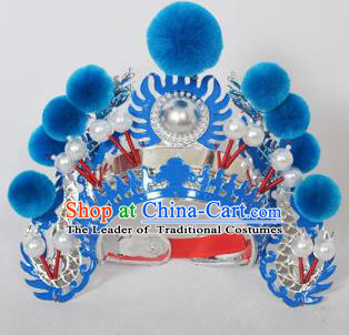 Traditional Handmade Chinese Classical Peking Opera Blues Accessories Blue Venonat Hat, China Beijing Opera Swordplay Warriors Blue Headwear