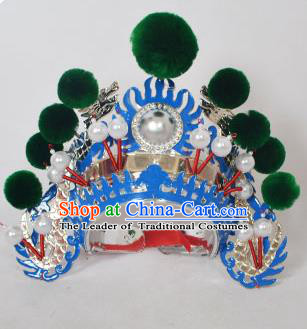 Traditional Handmade Chinese Classical Peking Opera Blues Accessories Green Venonat Hat, China Beijing Opera Swordplay Warriors Blue Headwear