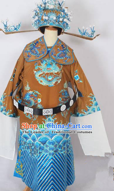 Traditional Chinese Professional Peking Opera Old Men Costume Embroidered Robe and Hat, China Beijing Opera Emperor Embroidery Dragon Robe Clothing