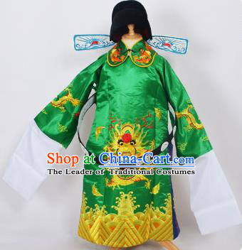 Traditional Chinese Professional Peking Opera Old Men Costume Green Embroidered Robe and Hat, China Beijing Opera Prime Minister Embroidery Robe Gwanbok Clothing