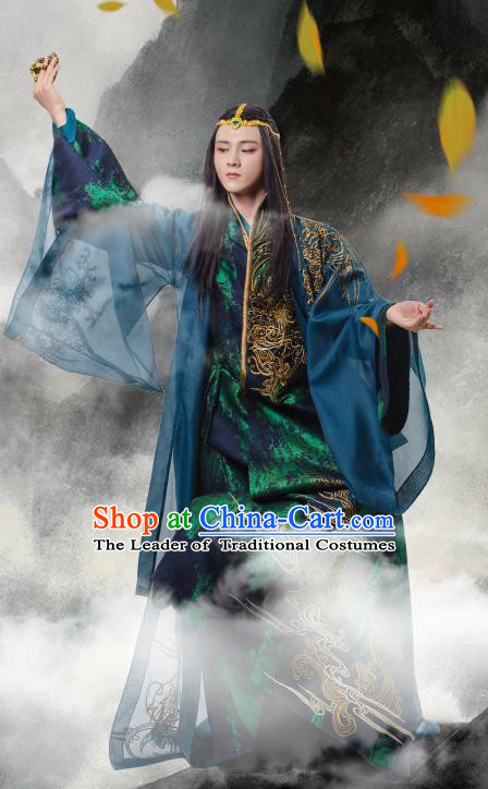 Traditional Chinese Northern and Southern Dynasties Nobility Childe Costume, China Ancient Elegant Hanfu Imperial Prince Wide Sleeve Robe Embroidery Clothing