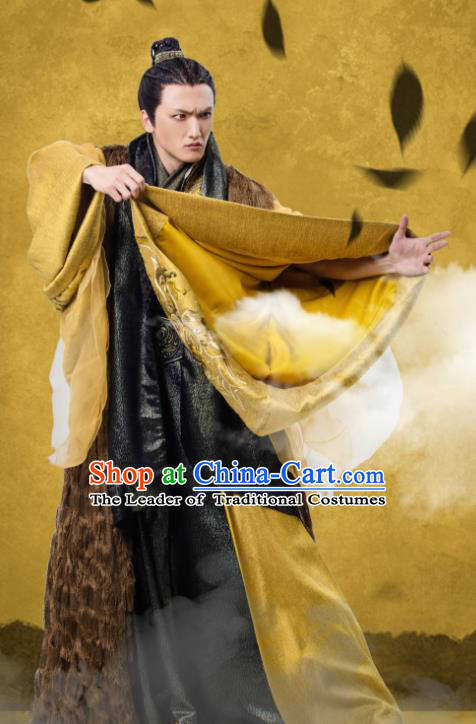 Traditional Chinese Northern and Southern Dynasties Taoist Priest Costume, China Ancient Elegant Hanfu Priest Frock Swordsman Clothing