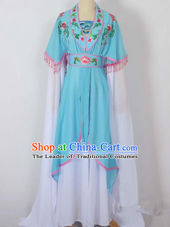 Traditional Chinese Professional Peking Opera Young Lady Costume Embroidery Blue Dress, China Beijing Opera Diva Hua Tan Water Sleeve Clothing