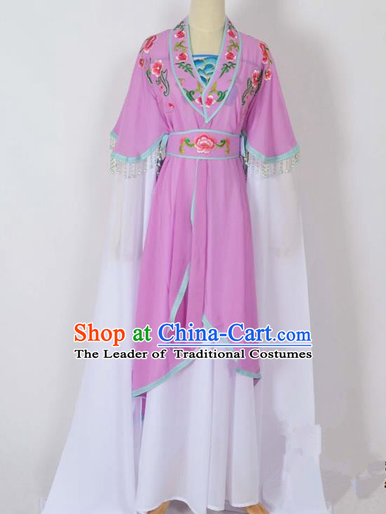 Traditional Chinese Professional Peking Opera Young Lady Costume Embroidery Purple Dress, China Beijing Opera Diva Hua Tan Water Sleeve Clothing