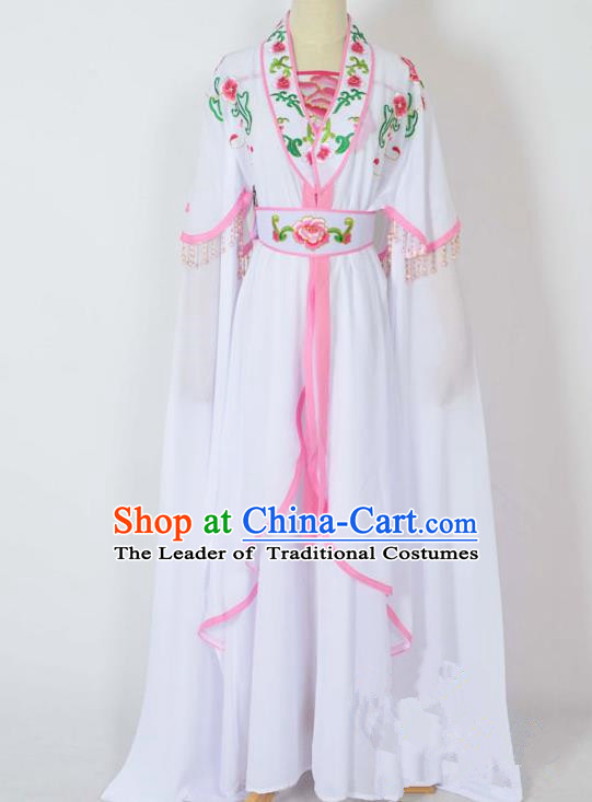 Traditional Chinese Professional Peking Opera Young Lady Costume Embroidery White Dress, China Beijing Opera Diva Hua Tan Water Sleeve Clothing