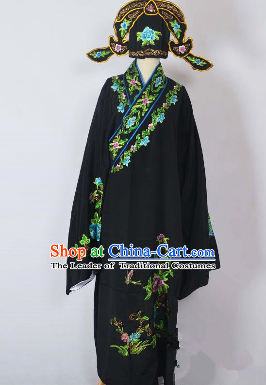 Traditional Chinese Professional Peking Opera Young Men Costume, China Beijing Opera Niche Gifted Scholar Embroidery Black Robe Clothing