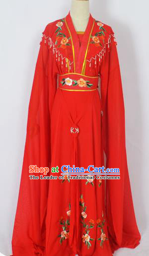 Traditional Chinese Professional Peking Opera Young Lady Seven Fairies Costume Red Embroidery Dress, China Beijing Opera Diva Hua Tan Embroidered Robe Clothing