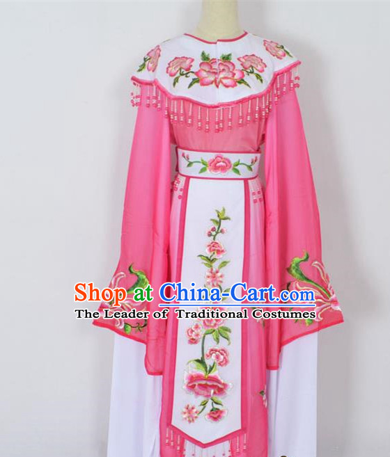 Traditional Chinese Professional Peking Opera Young Lady Princess Costume Rosy Embroidery Peony Dress, China Beijing Opera Diva Hua Tan Embroidered Cloud Shoulder Clothing