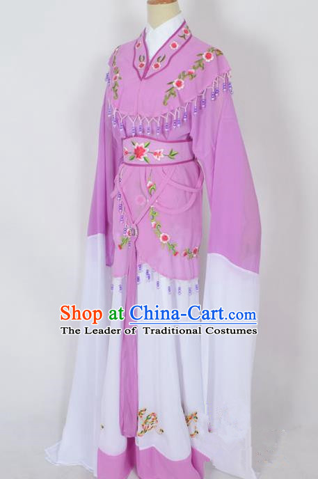 Traditional Chinese Professional Peking Opera Young Lady Jordan-Sitting Costume Purple Embroidery Dress, China Beijing Opera Diva Hua Tan Embroidered Princess Clothing