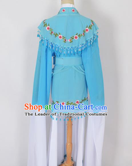 Traditional Chinese Professional Peking Opera Young Lady Jordan-Sitting Costume Blue Embroidery Dress, China Beijing Opera Diva Hua Tan Embroidered Princess Clothing