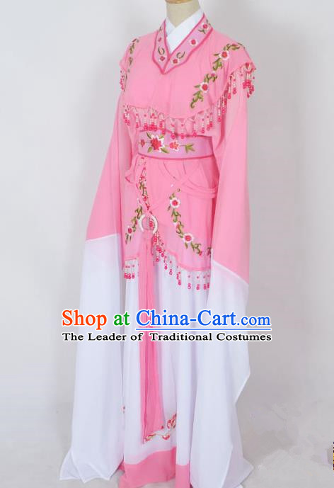 Traditional Chinese Professional Peking Opera Young Lady Jordan-Sitting Costume Pink Embroidery Dress, China Beijing Opera Diva Hua Tan Embroidered Princess Clothing