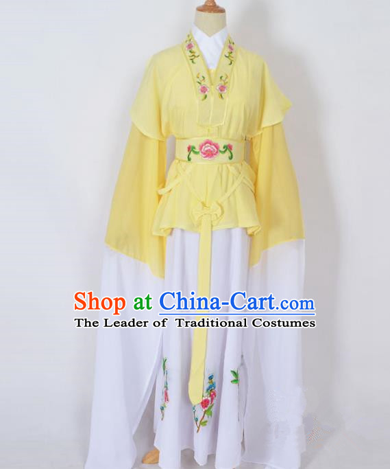 Traditional Chinese Professional Peking Opera Jordan-Sitting Water Sleeve Costume Yellow Embroidery Dress, China Beijing Opera Diva Hua Tan Embroidered Clothing