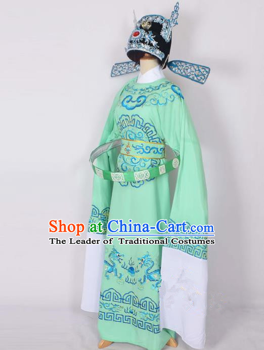 Traditional Chinese Professional Peking Opera Emperor Female Son-in-law Costume Green Embroidered Robe and Hat, China Beijing Opera Niche Embroidered Clothing