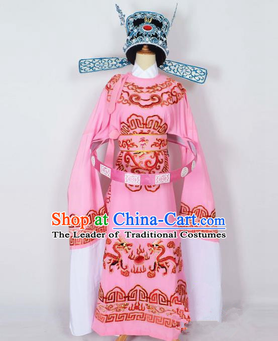 Traditional Chinese Professional Peking Opera Emperor Female Son-in-law Costume Pink Embroidered Robe and Hat, China Beijing Opera Niche Embroidered Clothing