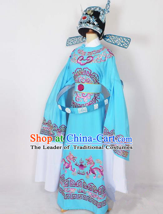 Traditional Chinese Professional Peking Opera Emperor Female Son-in-law Costume Blue Embroidered Robe and Hat, China Beijing Opera Niche Embroidered Clothing