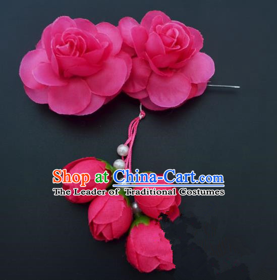 Traditional Handmade Chinese Classical Peking Opera Young Lady Hair Accessories Rosy Temples Flowers, China Beijing Opera Princess Headwear Tassel Hairpins