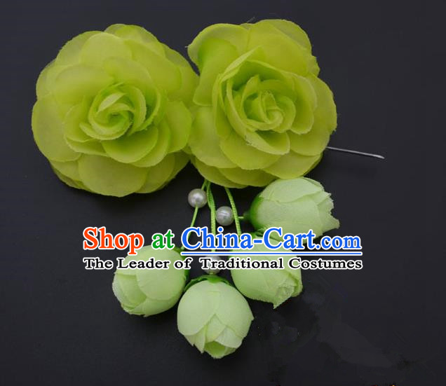 Traditional Handmade Chinese Classical Peking Opera Young Lady Hair Accessories Green Temples Flowers, China Beijing Opera Princess Headwear Tassel Hairpins