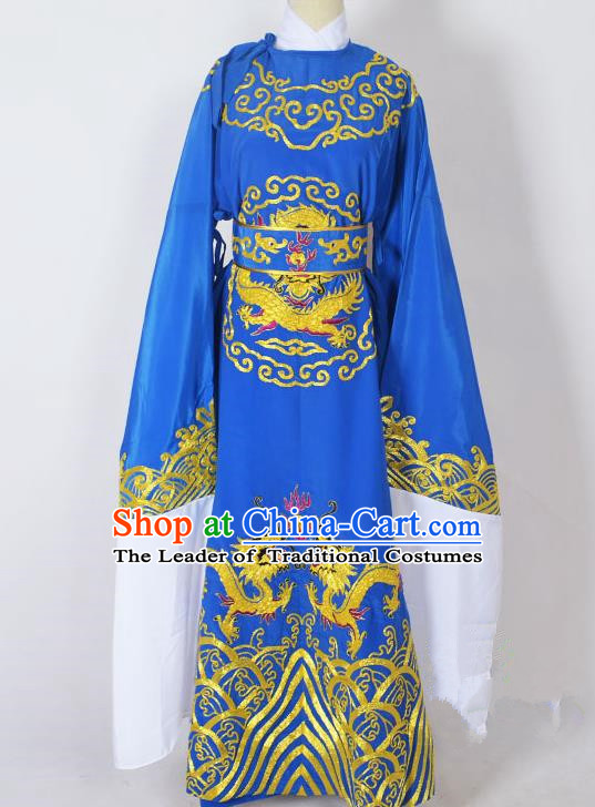 Traditional Chinese Professional Peking Opera Old Men Costume Blue Embroidery Robe, China Beijing Opera Niche Emperor Embroidered Robe Clothing