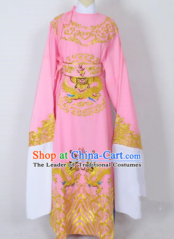 Traditional Chinese Professional Peking Opera Old Men Costume Pink Embroidery Robe, China Beijing Opera Niche Emperor Embroidered Robe Clothing