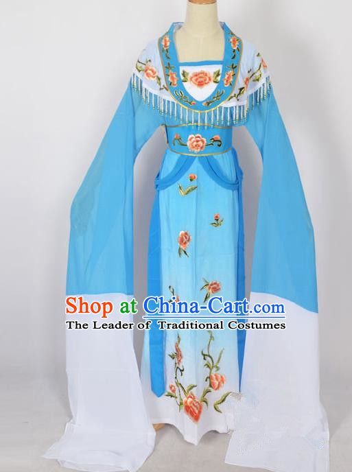 Traditional Chinese Professional Peking Opera Young Lady Princess Costume Blue Embroidery Dress, China Beijing Opera Diva Hua Tan Embroidered Clothing