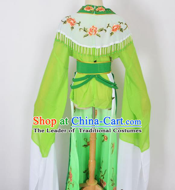 Traditional Chinese Professional Peking Opera Young Lady Princess Costume Green Embroidery Dress, China Beijing Opera Diva Hua Tan Embroidered Clothing