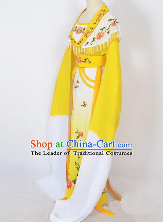 Traditional Chinese Professional Peking Opera Young Lady Princess Costume Yellow Embroidery Dress, China Beijing Opera Diva Hua Tan Embroidered Clothing
