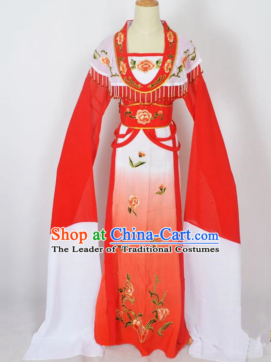 Traditional Chinese Professional Peking Opera Young Lady Princess Costume Red Embroidery Dress, China Beijing Opera Diva Hua Tan Embroidered Clothing