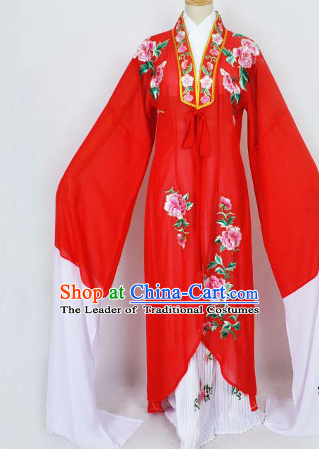 Traditional Chinese Professional Peking Opera Diva Princess Costume Embroidery Red Mantel, China Beijing Opera Hua Tan Young Lady Embroidered Clothing