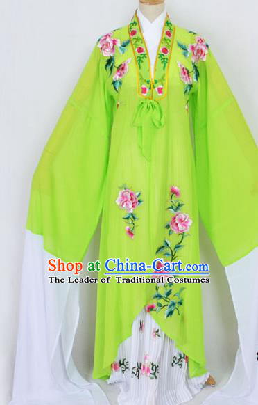 Traditional Chinese Professional Peking Opera Diva Princess Costume Embroidery Green Mantel, China Beijing Opera Hua Tan Young Lady Embroidered Clothing