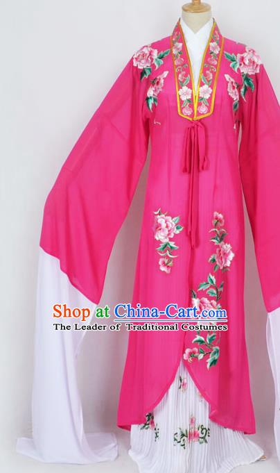 Traditional Chinese Professional Peking Opera Diva Princess Costume Embroidery Rosy Mantel, China Beijing Opera Hua Tan Young Lady Embroidered Clothing