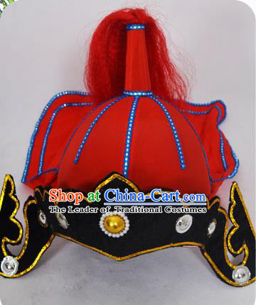 Traditional Handmade Chinese Classical Peking Opera Blues Accessories Red Hat, China Beijing Opera Swordplay Warriors Headwear