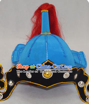 Traditional Handmade Chinese Classical Peking Opera Blues Accessories Blue Hat, China Beijing Opera Swordplay Warriors Headwear