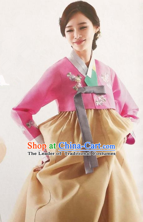Traditional Korean Handmade Embroidery Bride Hanbok, Top Grade Korea Hanbok Wedding Pink Costume for Women