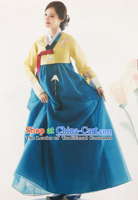 Traditional Korean Handmade Embroidery Bride Hanbok, Top Grade Korea Hanbok Wedding Yellow Costume for Women