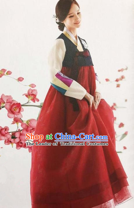 Traditional Korean Handmade Embroidery Bride Hanbok Red Dress, Top Grade Korea Hanbok Wedding Costume for Women