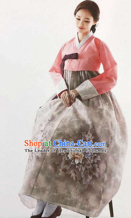 Traditional Korean Handmade Embroidery Bride Hanbok Grey Dress, Top Grade Korea Hanbok Wedding Costume for Women