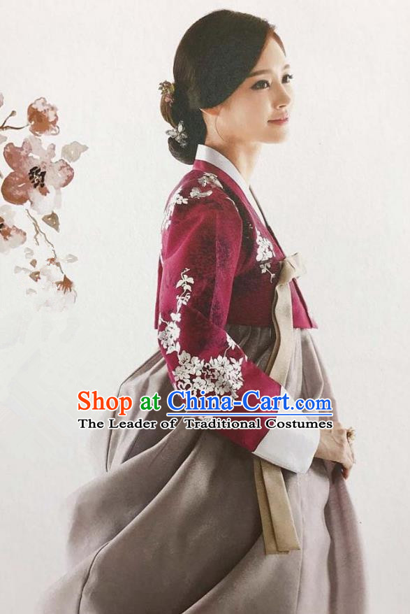 Traditional Korean Handmade Embroidery Bride Hanbok Red Full Dress, Top Grade Korea Hanbok Wedding Costume for Women