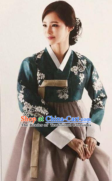 Traditional Korean Handmade Embroidery Bride Hanbok Green Full Dress, Top Grade Korea Hanbok Wedding Costume for Women