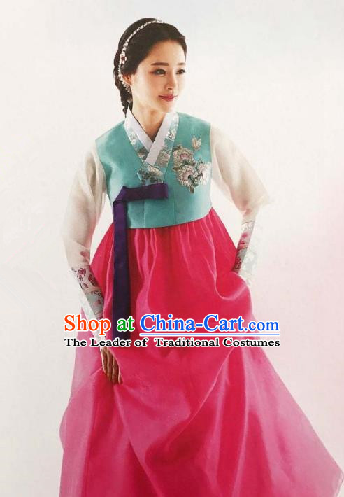 Traditional Korean Handmade Embroidery Bride Hanbok Rosy Full Dress, Top Grade Korea Hanbok Wedding Costume Complete Set for Women