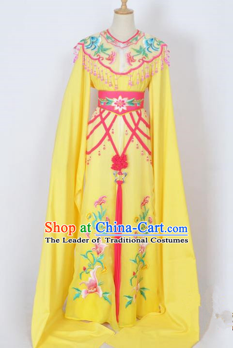 Traditional Chinese Professional Peking Opera Diva Young Lady Princess Costume Yellow Embroidery Dress, China Beijing Opera Hua Tan Embroidered Clothing