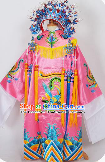 Traditional Chinese Professional Peking Opera Imperial Empress Costume Pink Dress, China Beijing Opera Imperial Concubine Embroidered Robe and Headwear