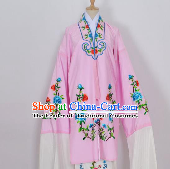 Traditional Chinese Professional Peking Opera Young Lady Costume Pink Embroidery Mantel, China Beijing Opera Diva Hua Tan Embroidered Dress Clothing
