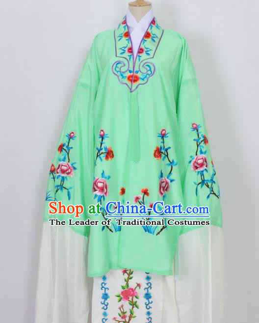 Traditional Chinese Professional Peking Opera Young Lady Costume Green Embroidery Mantel, China Beijing Opera Diva Hua Tan Embroidered Dress Clothing