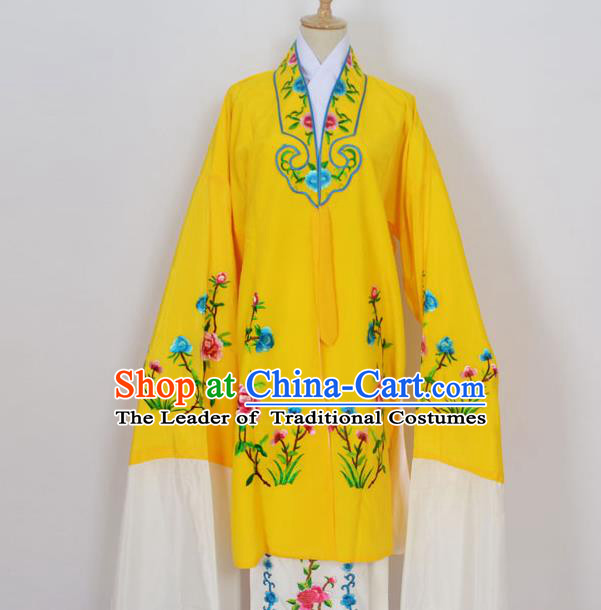 Traditional Chinese Professional Peking Opera Young Lady Costume Yellow Embroidery Mantel, China Beijing Opera Diva Hua Tan Embroidered Dress Clothing