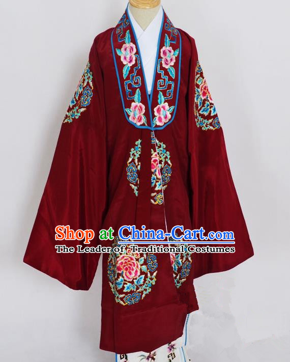 Traditional Chinese Professional Peking Opera Young Lady Costume Wine Red Embroidery Mantel, China Beijing Opera Diva Hua Tan Embroidered Dress Clothing