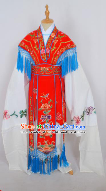 Traditional Chinese Professional Peking Opera Princess Costume Red Embroidery Dress, Children China Beijing Opera Diva Hua Tan Embroidered Red Clothing
