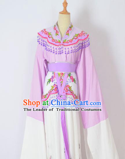 Traditional Chinese Professional Peking Opera Huangmei Opera Young Lady Princess Costume Purple Embroidery Dress, China Beijing Opera Diva Hua Tan Embroidered Clothing